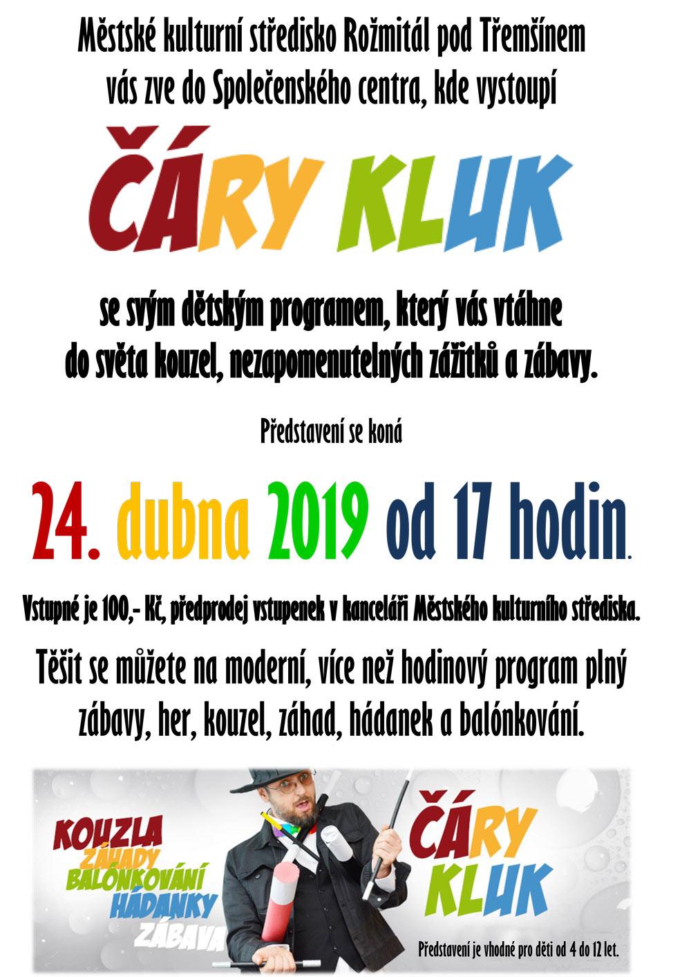 oficlální plakát Čáry Kluk Rožmitál